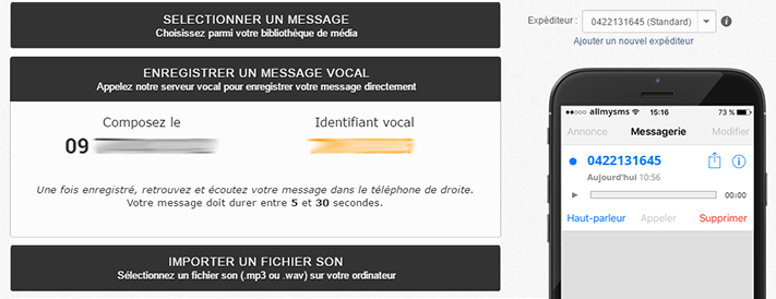 Dépôt de message vocal